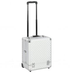 stradeXL Walizka kosmetyczna na kółkach, 35x29x45 cm, srebrna, aluminium