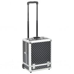 stradeXL Walizka kosmetyczna na kółkach, 35x29x45 cm, czarna, aluminiowa