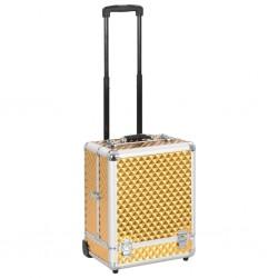 stradeXL Walizka kosmetyczna na kółkach, 35x29x45 cm, złota, aluminiowa