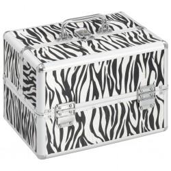 stradeXL Kuferek na kosmetyki, 22x30x21 cm, w paski zebry, aluminiowy