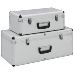 stradeXL Skrzynie do przechowywania, 2 szt., srebrne, aluminiowe