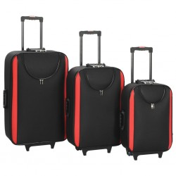 stradeXL Soft Case Trolleys 3 pcs Black Oxford Fabric