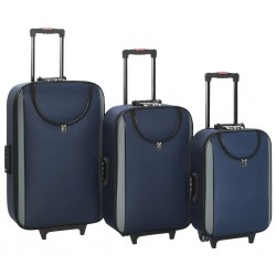stradeXL Soft Case Trolleys 3 pcs Navy Oxford Fabric