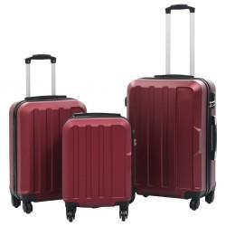 stradeXL Zestaw twardych walizek, 3 szt., kolor czerwonego wina, ABS