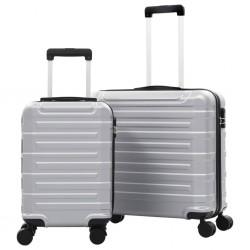 stradeXL Zestaw twardych walizek, 2 szt., srebrne, ABS