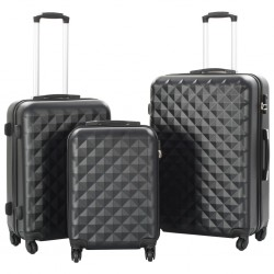 stradeXL Hardcase Trolley Set 3 pcs Black ABS