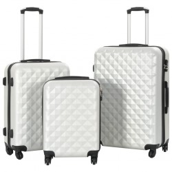 stradeXL Hardcase Trolley Set 3 pcs Bright Silver ABS