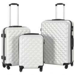 stradeXL Zestaw twardych walizek, 3 szt., jasny srebrny, ABS