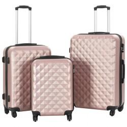 stradeXL Zestaw twardych walizek, 3 szt., różowe złoto, ABS