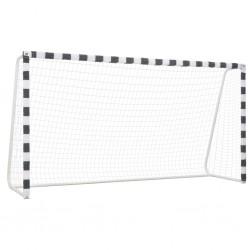 stradeXL Bramka do piłki nożnej, 300x160x90 cm, metalowa, czarno-biała