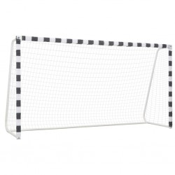 stradeXL Soccer Goal 300x160x90 cm Metal Black and White