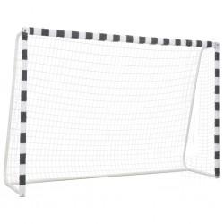 stradeXL Bramka do piłki nożnej, 300x200x90 cm, metalowa, czarno-biała