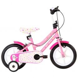 stradeXL Rower dla dzieci, 12 cali, biało-różowy