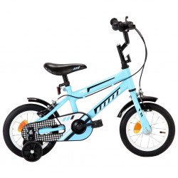 stradeXL Rower dla dzieci, 12 cali, czarno-niebieski