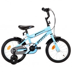 stradeXL Rower dla dzieci, 14 cali, czarno-niebieski