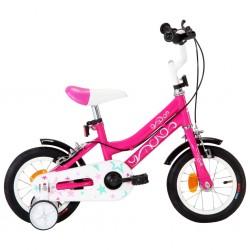 stradeXL Rower dla dzieci, 12 cali, czarno-różowy
