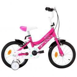 stradeXL Rower dla dzieci, 14 cali, czarno-różowy