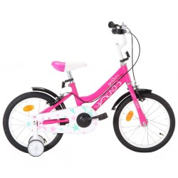 stradeXL Rower dla dzieci, 16 cali, czarno-różowy
