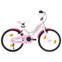 stradeXL Rower dla dzieci, 18 cali, różowo-biały