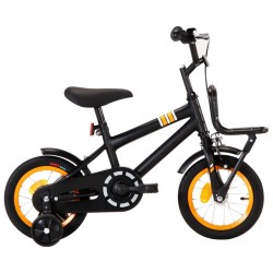 stradeXL Rower dla dzieci z bagażnikiem, 12 cali, czarno-pomarańczowy