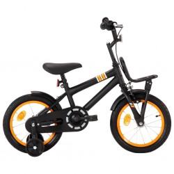 stradeXL Rower dla dzieci z bagażnikiem, 14 cali, czarno-pomarańczowy