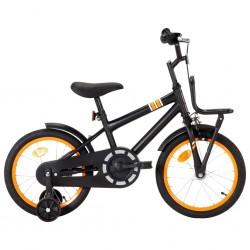 stradeXL Rower dla dzieci z bagażnikiem, 16 cali, czarno-pomarańczowy