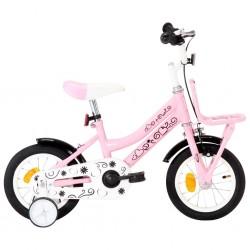 stradeXL Rower dla dzieci z bagażnikiem, 12 cali, biało-różowy