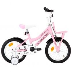 stradeXL Rower dla dzieci z bagażnikiem, 14 cali, biało-różowy