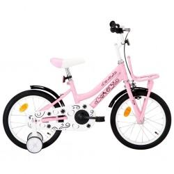 stradeXL Rower dla dzieci z bagażnikiem, 16 cali, biało-różowy
