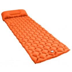 stradeXL Dmuchany materac z poduszką, 58x190 cm, pomarańczowy