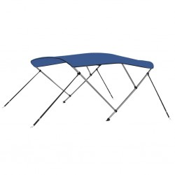 stradeXL Bimini, daszek do łodzi z 3 łukami, niebieski, 183x140x140 cm