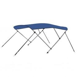 stradeXL Bimini, daszek do łodzi, 3 pałąki, niebieski, 183x196x140 cm