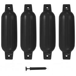 stradeXL Odbijacze do łodzi, 4 szt., czarne, 41x11,5 cm, PVC