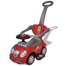 Czerwony samochód-jeździk z drążkiem do pchania
