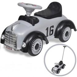 Grey Retro Children's Ride-on Car with Push bar