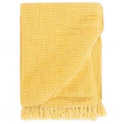 stradeXL Throw Cotton 125x150 cm Mustard Yellow