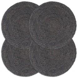 stradeXL Maty na stół, 4 szt., gładkie, ciemnoszare 38 cm, okrągłe, juta