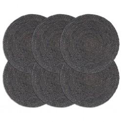 stradeXL Placemats 6 pcs Plain Dark Grey 38 cm Round Jute