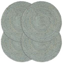 stradeXL Maty na stół, 4 szt., gładkie, oliwkowe, 38 cm, okrągłe, juta
