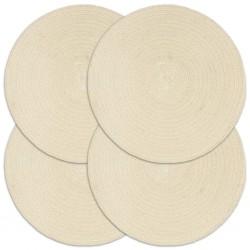 stradeXL Maty na stół, 4 szt., gładkie, naturalne, 38 cm, okrągłe