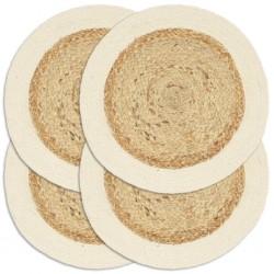 stradeXL Placemats 4 pcs Plain Natural 38 cm Round Jute and Cotton