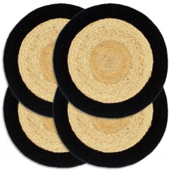 stradeXL Placemats 4 pcs Natural and Black 38 cm Jute and Cotton