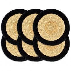 stradeXL Placemats 6 pcs Natural and Black 38 cm Jute and Cotton