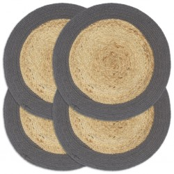 stradeXL Placemats 4 pcs Natural and Anthracite 38 cm Jute and Cotton