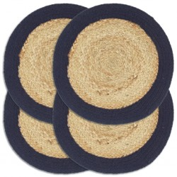 stradeXL Placemats 4 pcs Natural and Navy Blue 38 cm Jute and Cotton