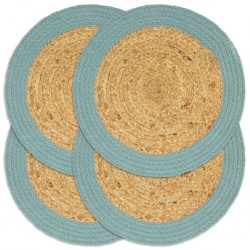 stradeXL Placemats 4 pcs Natural and Green 38 cm Jute and Cotton