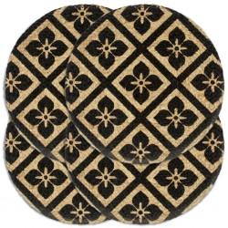 stradeXL Maty na stół, 4 szt., czarne, 38 cm, okrągłe, juta