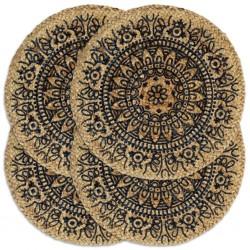 stradeXL Maty na stół, 4 szt., ciemnoniebieskie, 38 cm, okrągłe, juta
