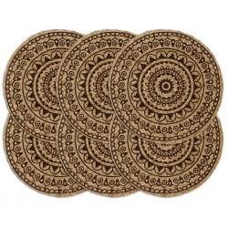 stradeXL Maty na stół, 6 szt., ciemnobrązowe, 38 cm, okrągłe, juta