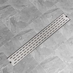 stradeXL Kratka odpływowa, liniowa, 830x140 mm, wzór linii, stal nierdzewna